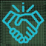 Icône poignée de main pour les services d'accompagnement de rayonner sur le Web.