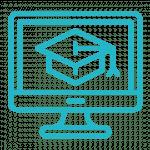 Icône écran d'ordinateur et chapeau mortier de graduation pour les services de formations, programmes et abonnements en ligne de rayonner sur le Web.