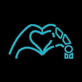Icône main d'humain et main de robot qui forment un coeur en harmonie pour Être un phare c'est choisir l'harmonie entre l'humain et la technologie